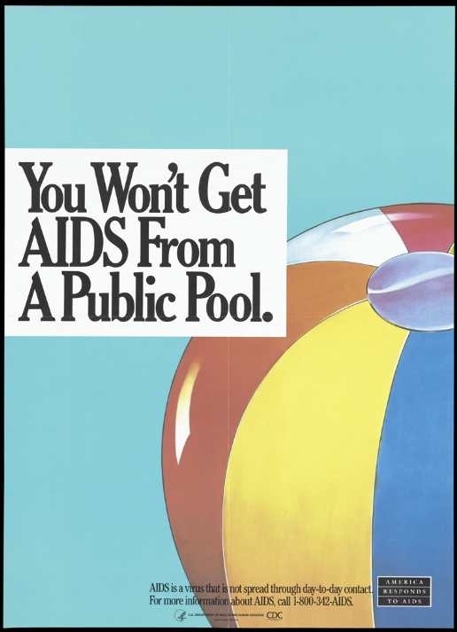 A ball with a message indicating that AIDS is not transmitted in public swimming pools; a poster from the 'America Responds to AIDS' advertising campaign. Colour lithograph, c.1990s.