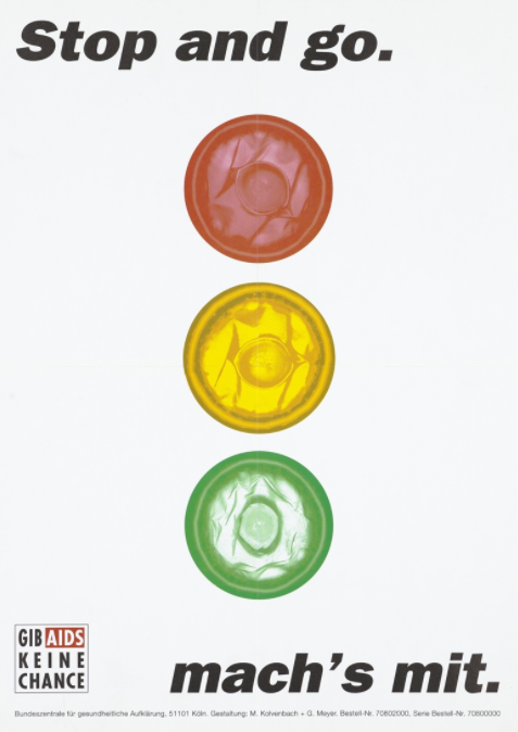 Traffic lights with three condoms (red, yellow and green) for lights, representing protection against AIDS. Colour lithograph after M Kolvenbach and G Meyer, c.1990s.