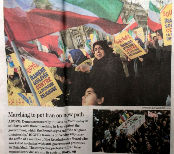 """The Washington Post front page (1/4/18) featured a photo of an MEK demonstration in Paris, identified only as """"demonstrators…in solidarity with those marching in Iran against the government."""" (image: Shervin Malekzadeh)"""