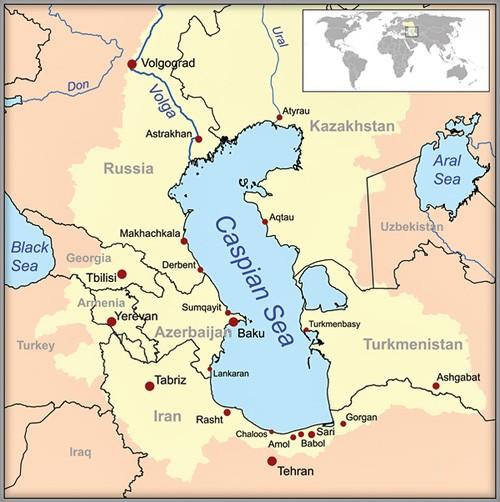 Map of Caspian seal population in the Caspian Sea