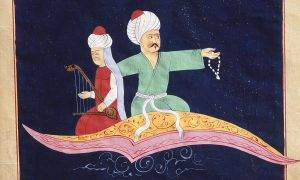 Flying Over Istanbul and the Galata Tower on the Magic Carpet from the 1001 Nights, Turkish miniature, 19th C. Photo by Rex