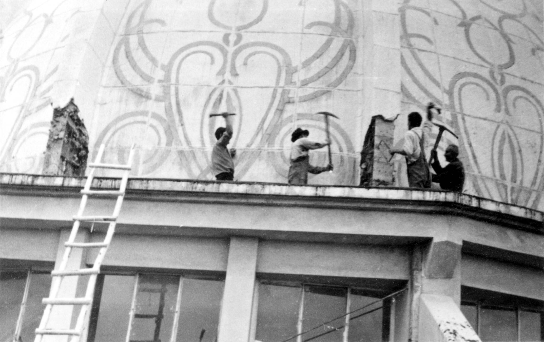 Destruction of the National Bahá'í Center in Tehran, Iran, circa 1955. High Resolution Image >