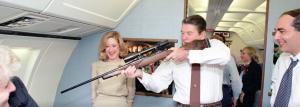 Ronald Reagan shooting a gun rifle
