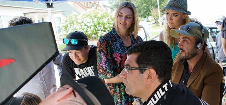 "Sam Khoze, Director Ali Atshani, Taylor Cole and Dominique Swain on the set of the film ""1st Born"""